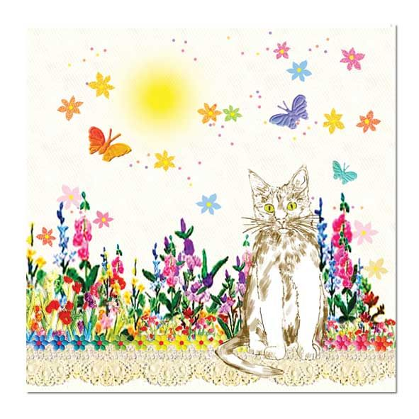 Cute Cat Greeting Card: Garden Cat, Unique Greeting Cards, Quality Birthday Cards and Luxury Christmas Cards by Paradis Terrestre