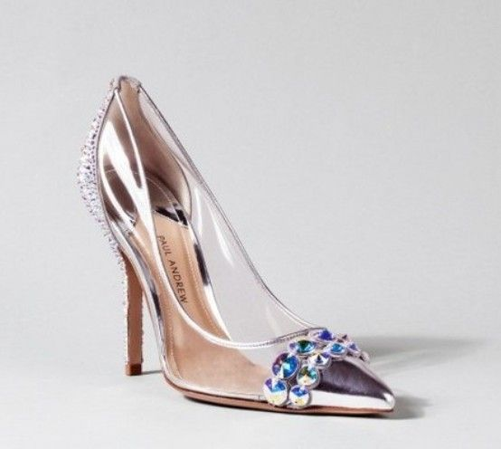 Stiletto Glass Slipper Wedding Shoes With High Heels
