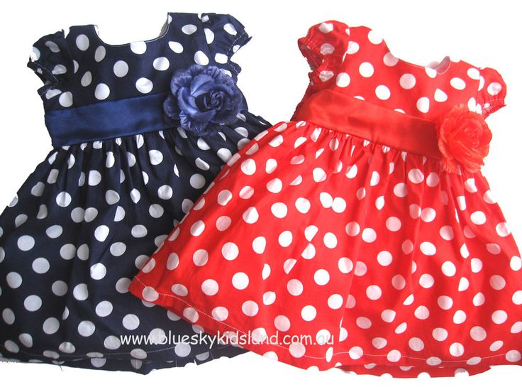NEW Girls Cotton Dress Size 000-4  Polka Dots in Blue or Red