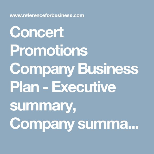 concert promotions company business plan
