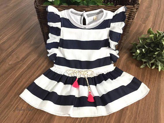 Striped girls dress Summer girls dress Blue navy and white www.bohoaven.com