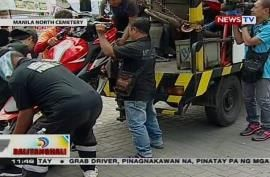 30 motorcycles towed outside Manila North Cemetery