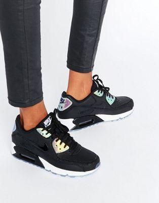 Nike – Air Max 90 – Hochwertige Sneaker in holografischem Schwarz