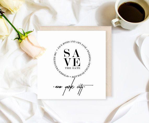Modern Save the Date  Minimalist Wedding by ChynnaHansenDesigns