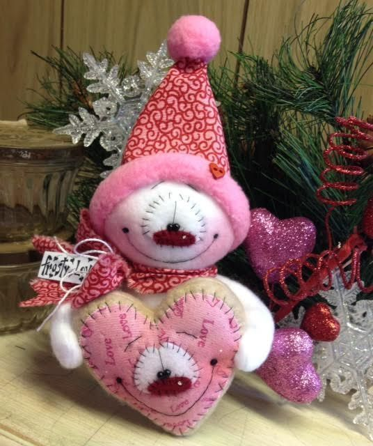 Primitive Raggedy HC Valentines Day Doll Snowman Snow Snowflake Heart Cookie  #IsntThatCute #Christmas