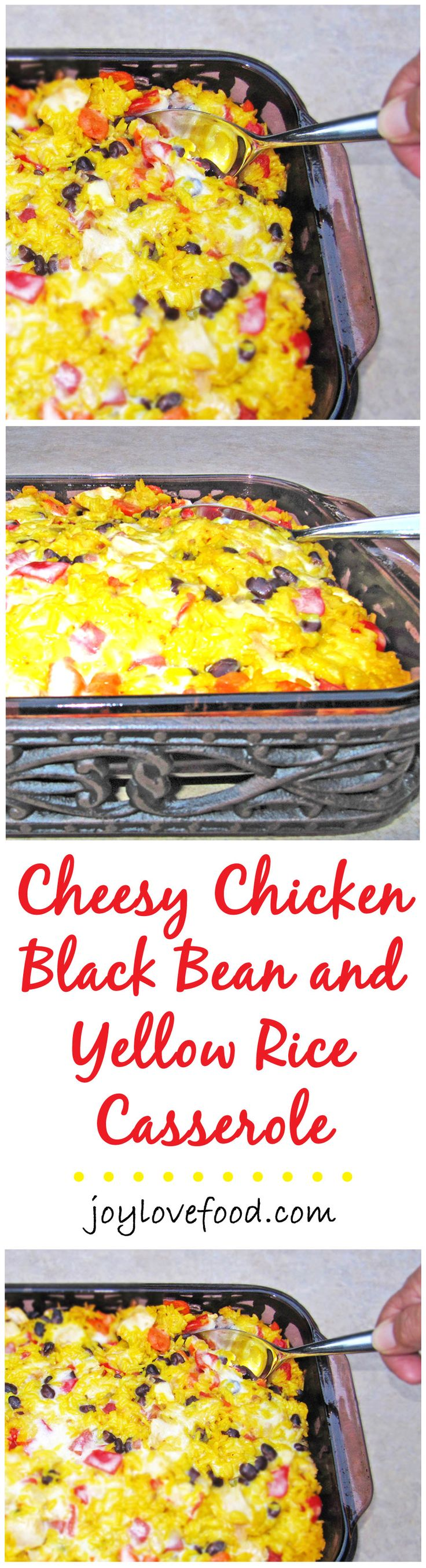 Cheesy Chicken, Yellow Rice and Black Bean Casserole -- colorful veggies, black beans, chicken and yellow rice are combined with melting Monterey Jack cheese in this delicious casserole that is sure to please both kids and adults.