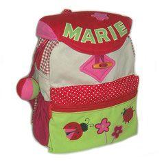 Handgefertigter Rucksack für Mädchen mit Marienkäfer und Namen...neu im Shop!