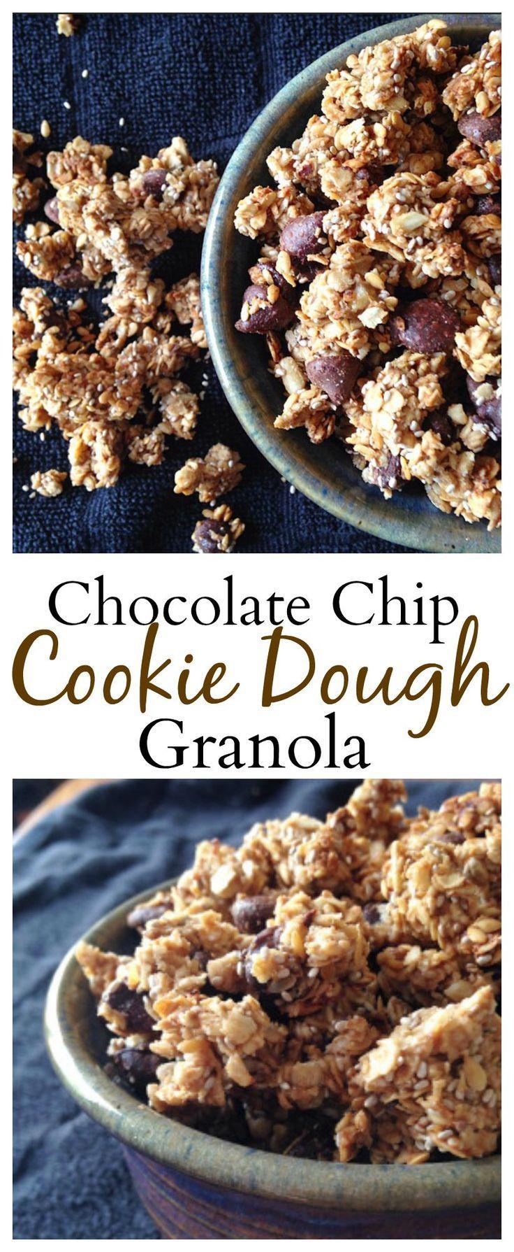 #healthy Chocolate Chip Cookie Dough Granola is the best granola you will ever taste! #vegan #glutenfree