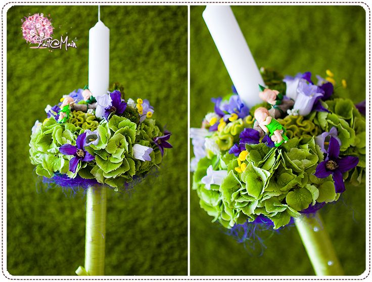 """Peter Pan & Tinkerbell"" christening candle www.facebook.com/faitamain www.simplyhappy.ro"