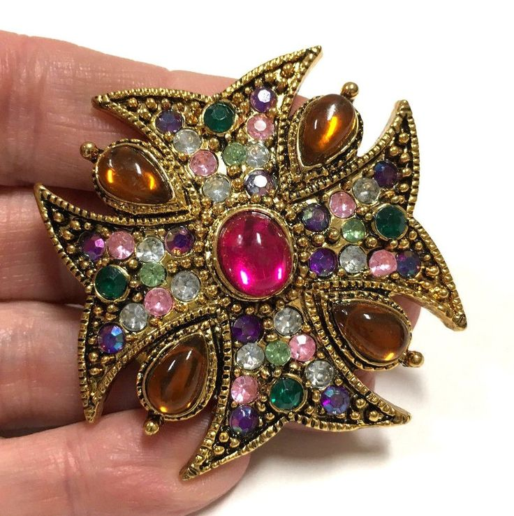 Vintage Estate Multi Color Rhinestone & Cabochon Maltese Cross Brooch Gold Available From Dellagraces Vintage Jewelry on eBay