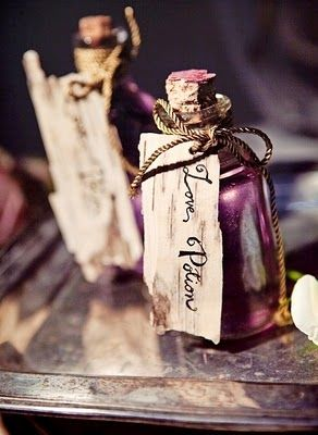 Little purple favor bottles with birch bark tags!? LOVE THIS SO MUCH!!