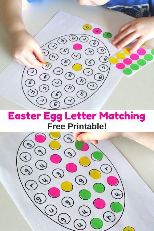 Easter Egg Letter Matching Printable for preschool and kindergarten. A fun Easter alphabet activity!