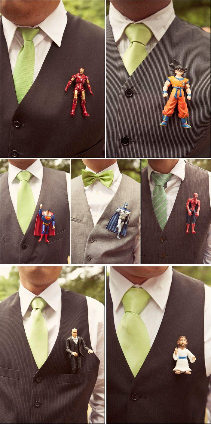 Superhero boutonnieres - wedding flower alternative