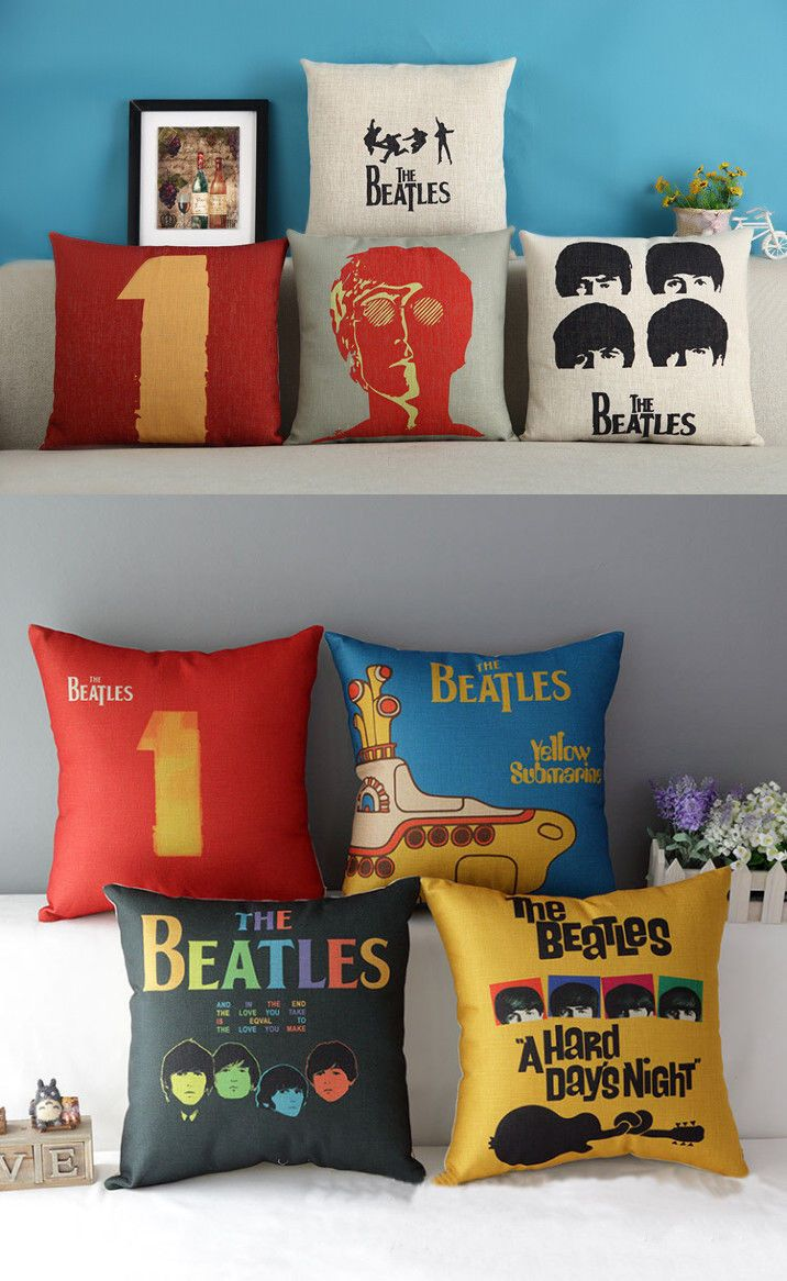 Fashion The Beatles Rock Dekorative Kissenbezug Pillowcase Haus Kaffee Bett Sofa in Möbel & Wohnen, Dekoration, Dekokissen | eBay!