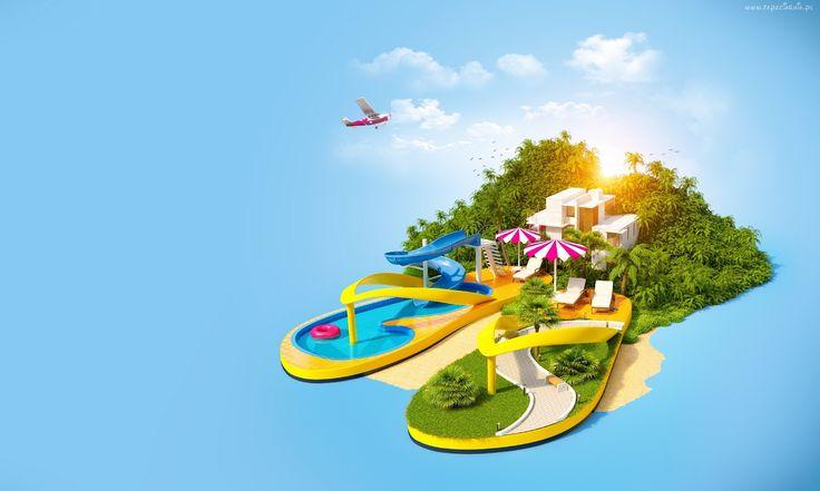 Niebo, Wyspa, Wakacje, 3D