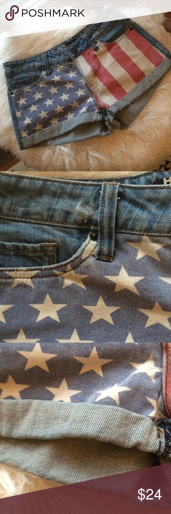 BDG  Urban Outfitters, distressed U.S. flag shorts BDG distressed, vintage look American flag jean shorts. Distressing at the waist, pockets and leather at the back waist band (see photos). The dye from leather may have bled during washing, but it just adds to the vintage look. Perfect for festival season!  - Wonderful pre-loved condition. - Made in China. - 100% cotton. Machine wash. BDG Shorts