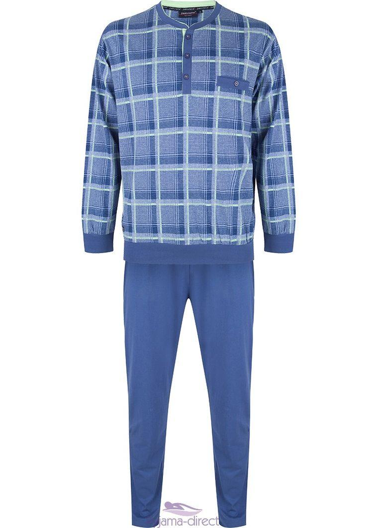 "Modern & comfy long sleeved blue ""checked squares"" Pastunette for Men cotton pyjama"