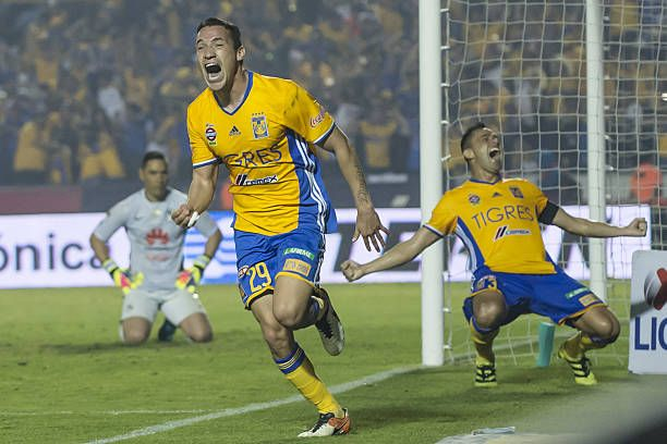 Jesus Duenas of Tigres celebrates after scoring his team's first goal and forces a round of penalties during the Final second leg match between Tigres UANL and America as part of the Torneo Apertura 2016 Liga MX at Universitario Stadium on December 25, 2016 in Monterrey, Mexico.