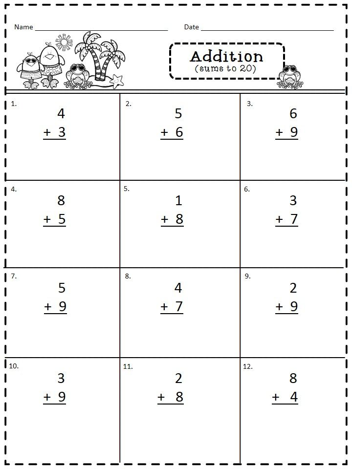This is a page from Addition and Subtraction (within 20 ...