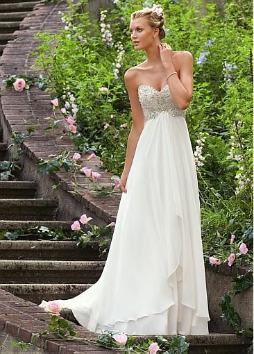 Love it !!!  Stunning Satin & Chiffon Empire Sweetheart Empire Waistline Wedding Dress