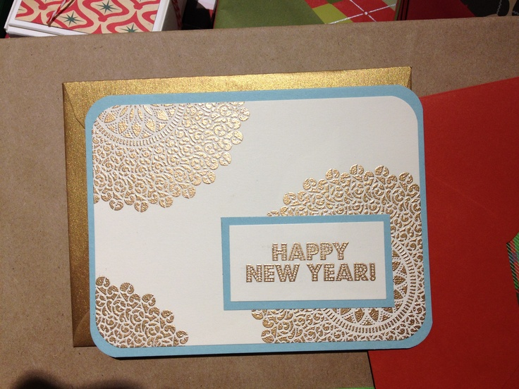 My Homemade New Year's Cards...I'm addicted to Embossing.  Thank you Paper Source in Memorial City Centre for the idea!