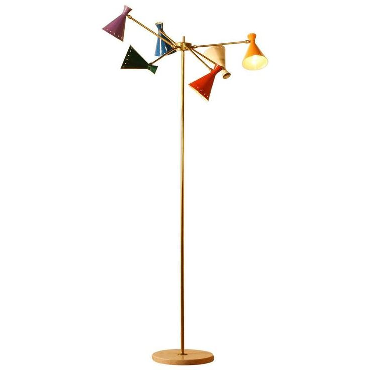 1950s, Beautiful Multi-Coloured  Floorlamp by Arteluce, Italy | From a unique collection of antique and modern floor lamps at https://www.1stdibs.com/furniture/lighting/floor-lamps/