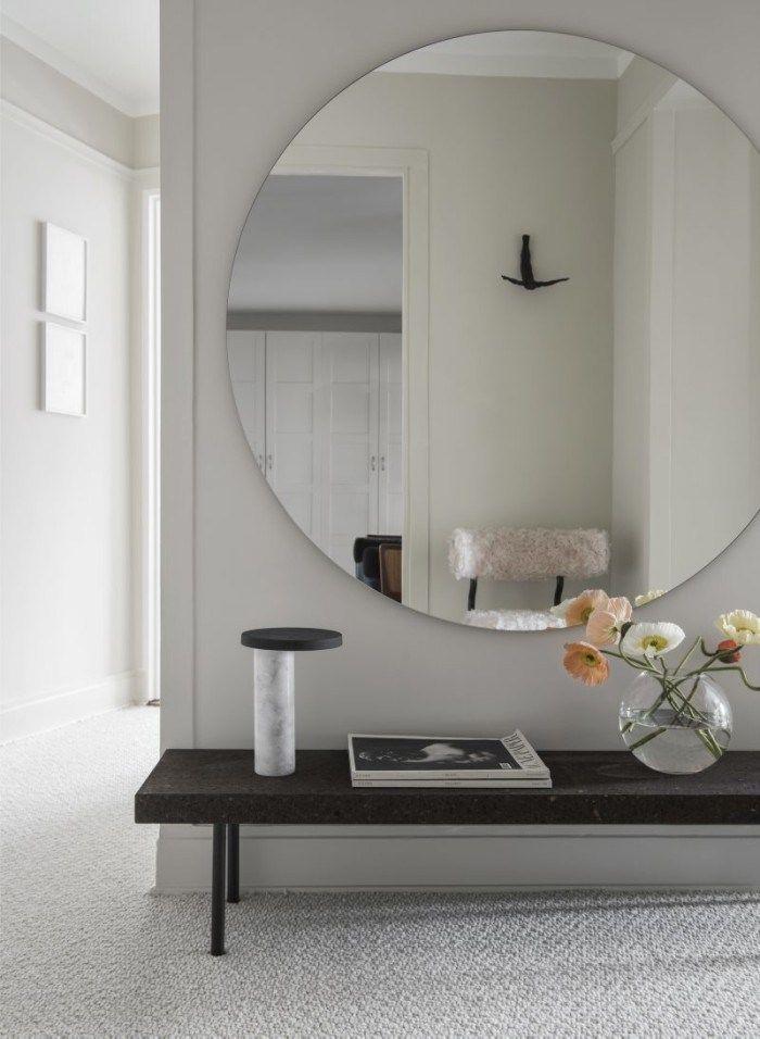 stor spegel + sittbänk