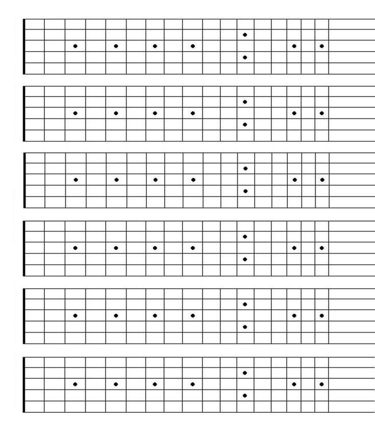 Printable Blank Guitar Fretboard Guitar Neck Chart Instant