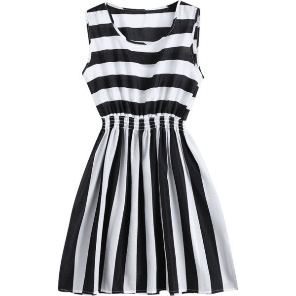 Smocked Panel Striped A Line Mini Dress (£10) ❤ liked on Polyvore featuring dresses, a line mini dress, panel dress, striped a line dress, striped dresses and mini dress