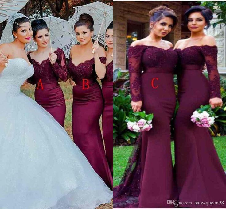 The 25 Most Pinned Wedding Dresses Of 2016: 2016 Vintage Burgundy Lace Stain Long Sleeve Mermaid Beach