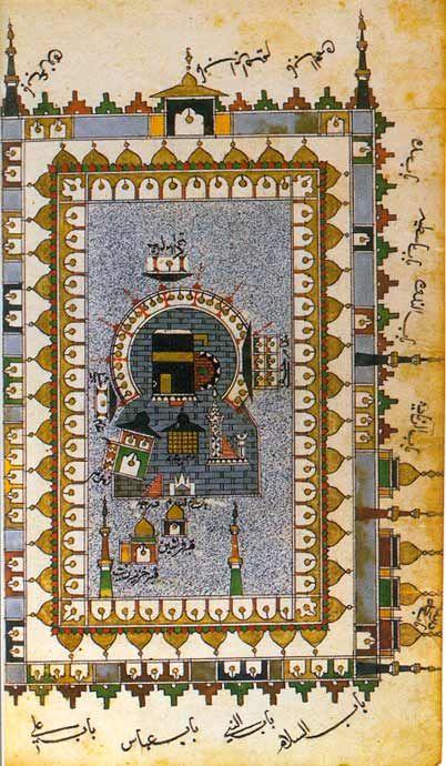 Futuh al-haramayn - Darstellung der heiligen Stätten Der Plan zeigt die heiligen Stätten in Mekka mit der Ka'ba im Zentrum. Anstatt einer perspektivischen Darstellung sind die durch eine Inschrift ausgewiesenen Gebäude in die Fläche umgeklappt, so dass sie teilweise auf der Seite oder dem Kopf stehen.  Muhyi al-Din Lari, osmanische Miniaturmalerei, Anfang 17. Jh.