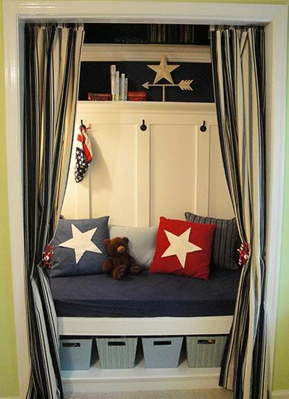 My little boy has two closets in his bedroom and this is the perfect idea for one of them!