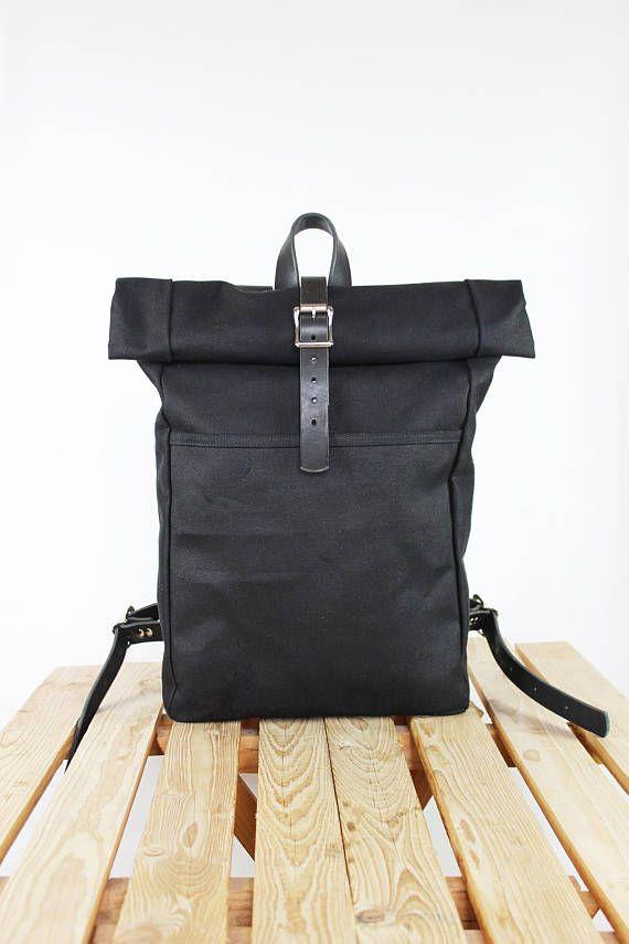 Canvas backpack/ Rolltop backpack/ Leather backpack Canvas rucksack ...