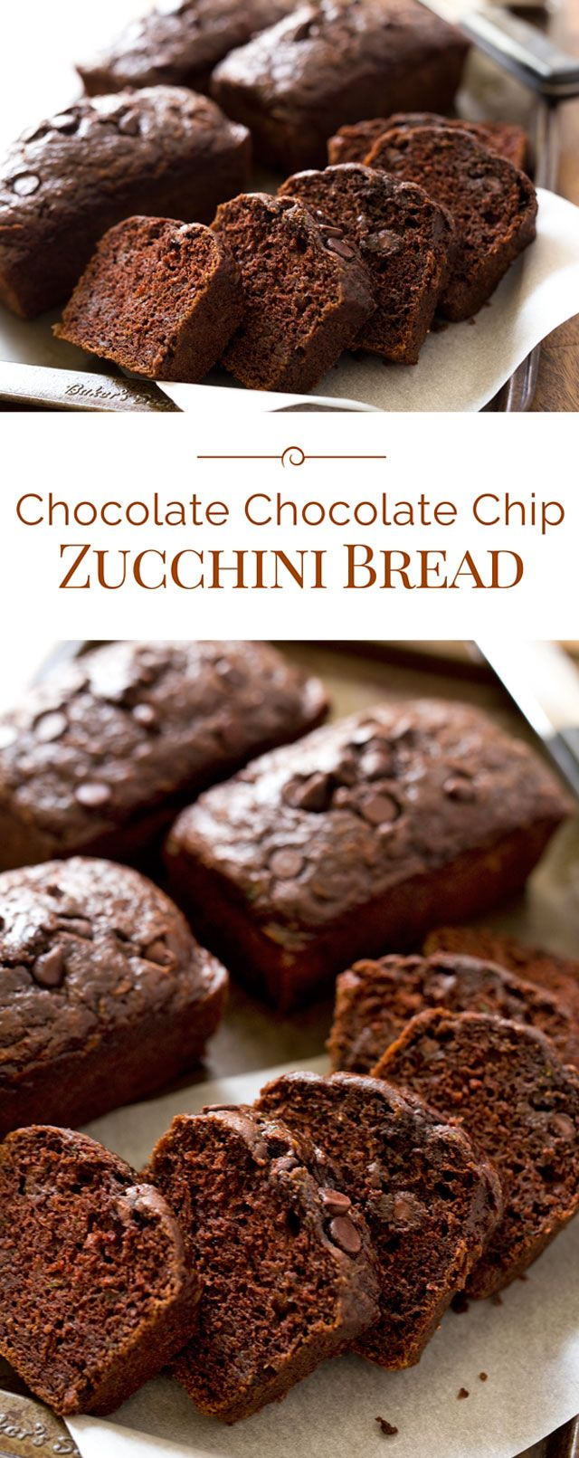This Chocolate Chocolate Chip Zucchini Bread is a moist, delicious, better-for-you double chocolate quick bread made with zucchini, non-fat Greek yogurt and canola oil.