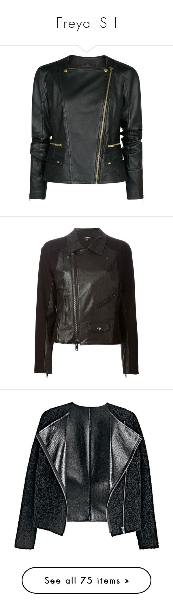 """Freya- SH"" by inestrindade on Polyvore featuring outerwear, jackets, leather jacket, coats, coats & jackets, black, rider jacket, biker jacket, mango jackets and rider leather jacket"