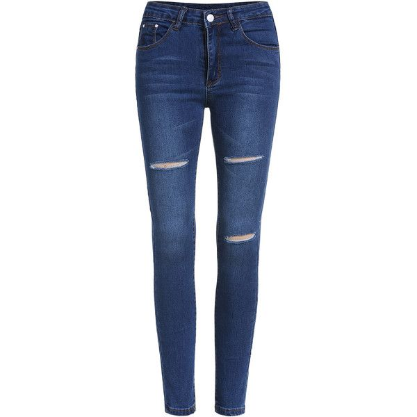 Ripped Denim Slim Pant (1.150 RUB) ❤ liked on Polyvore featuring jeans, pants, blue, long jeans, ripped denim jeans, destroyed jeans, stretchy jeans and slim fit jeans