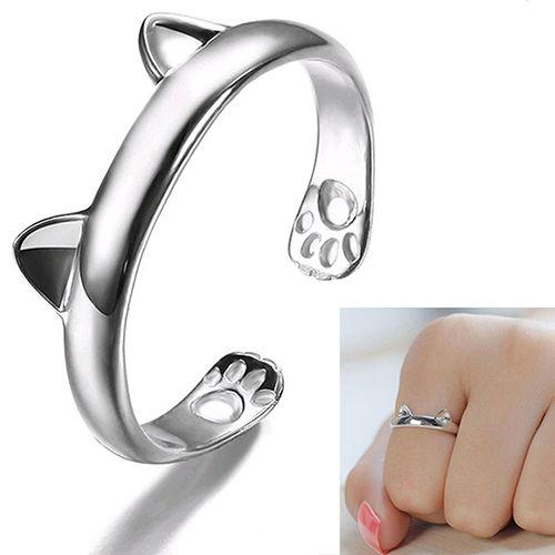 Mujeres gato lindo del oído de la garra anillo abierto dedo plateado de la joyería Animal