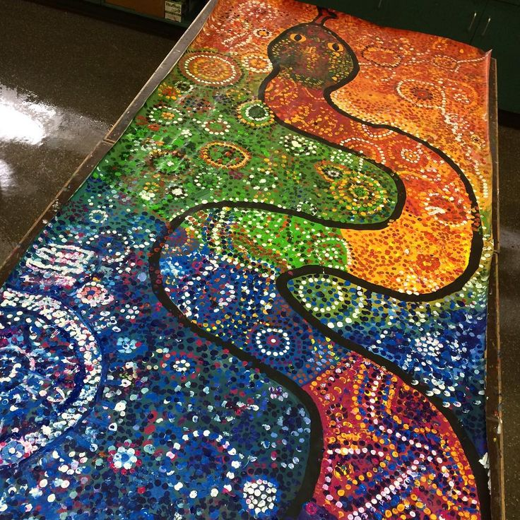 Day 5 of the Rainbow Serpent Project. Grades 4 and 1 have continued to add dots inside and outside the snake. It's getting very full!!…