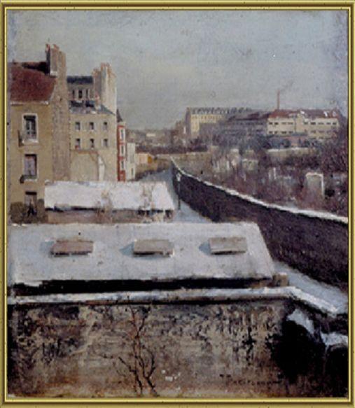 Парижское предместье. 1883. Частное собрание, Франция.  Дерево, масло. 10 х 11