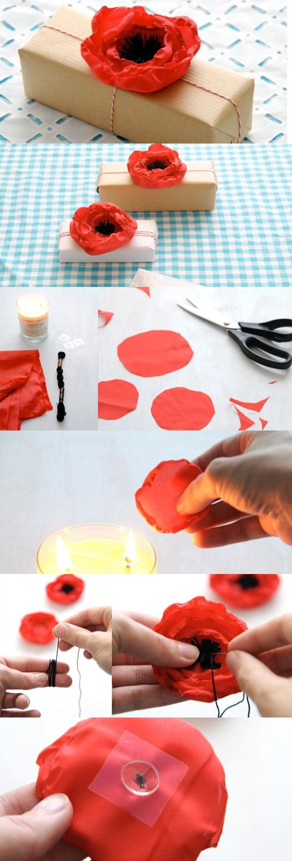 5 Minute DIY Fabric Poppy Flower Gift Toppers