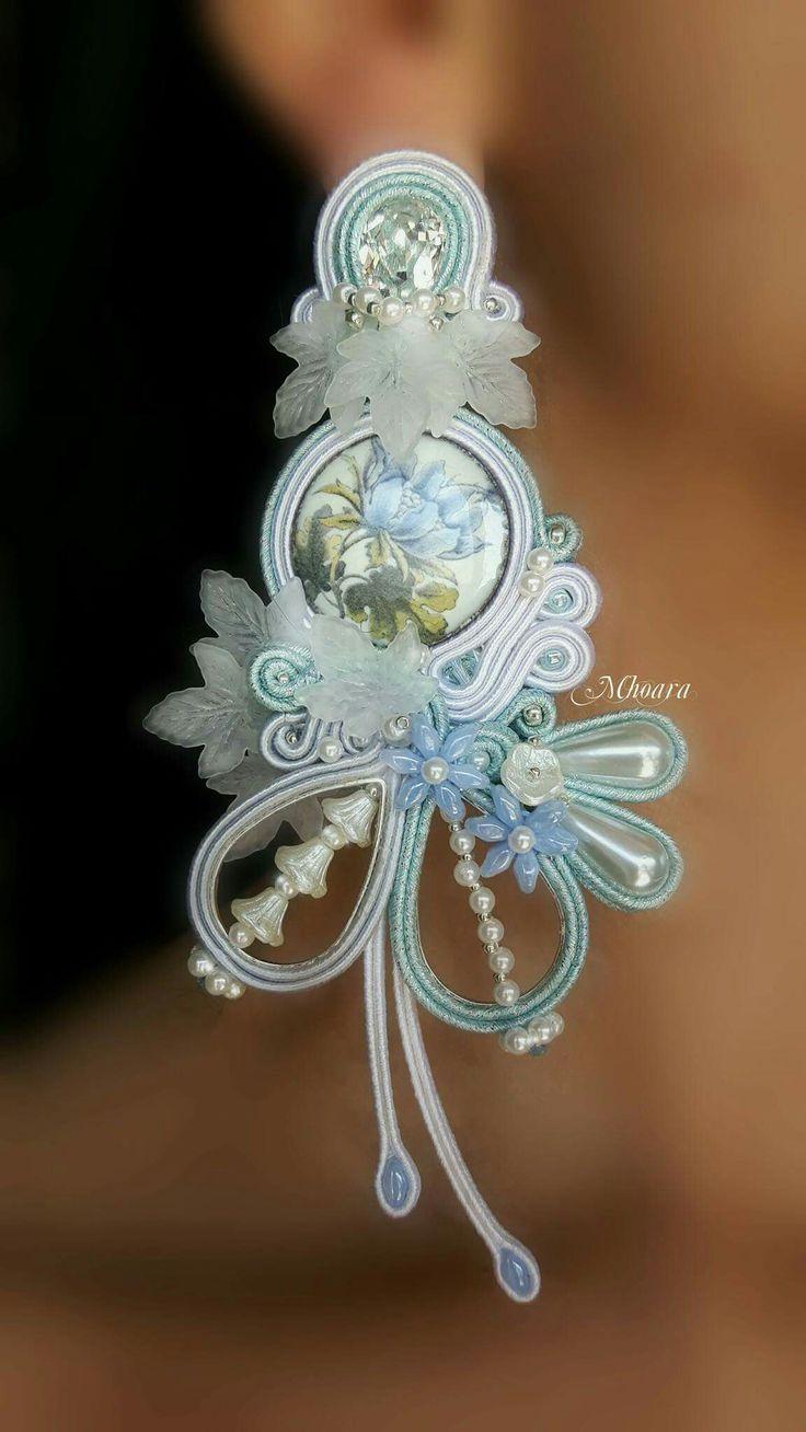 ' Heavenly Flowers ' - majolica design - Soutache Jewelry by Mhoara
