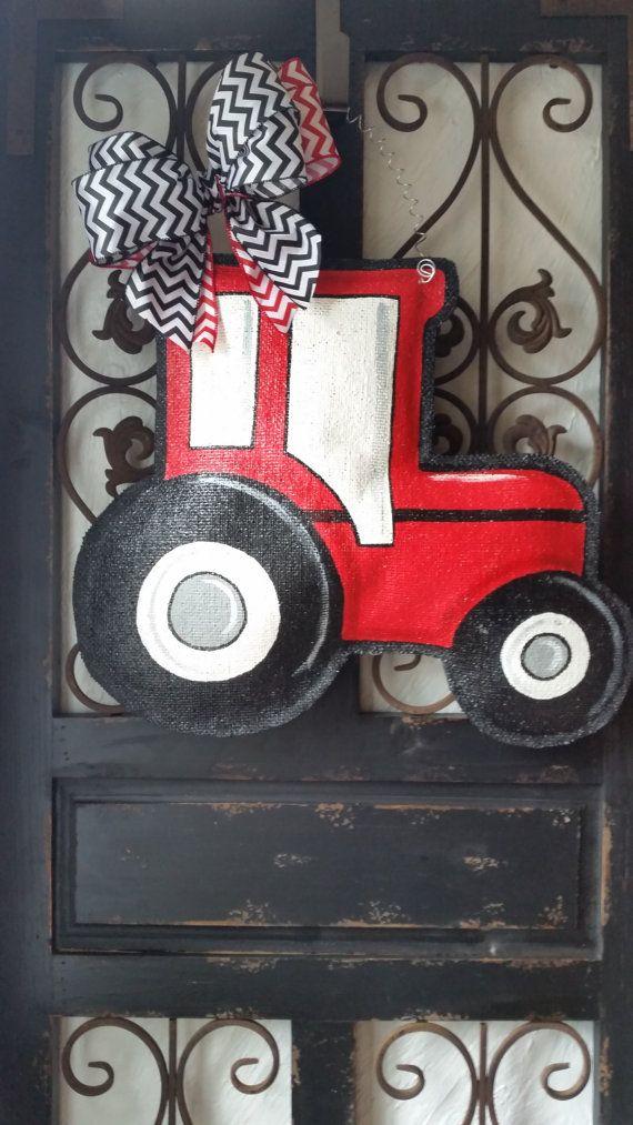 Red tractor hand painted burlap door hanger by ConnieRisleyCrafts