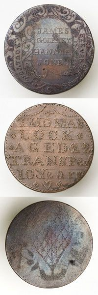 Convict tokens: Coins engraved with convict details and messages of affection. Made by prisoners from England sent to Australia. Largest collection in The National Museum of Australia