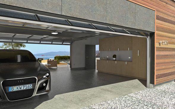 Este es el garaje. Este no es muy grande y puede contener dos coches. Hay dos luces, un armario, siete estantes, una puerta y una gran puerta metálica.