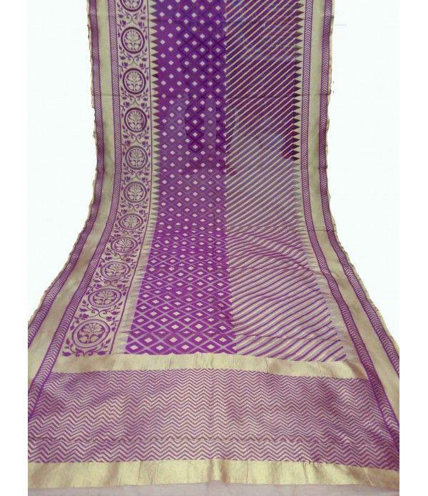 Purple Banarasi Handloom Net Saree