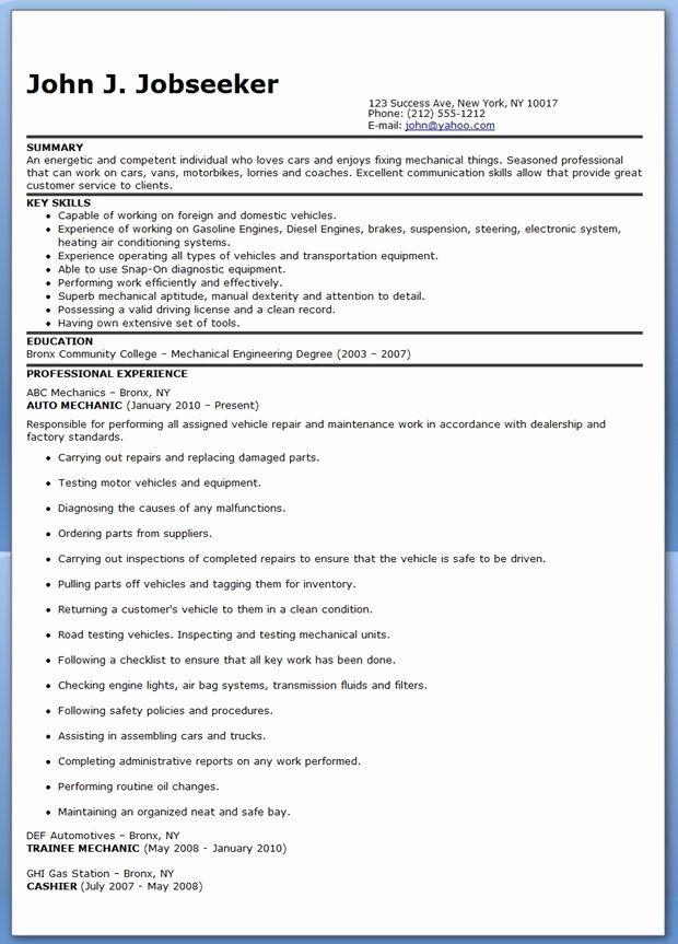 Automotive Mechanic Resume Example Inspirational Auto Transmission Mechanic Resume Resume Examples Resume Design Creative Resume