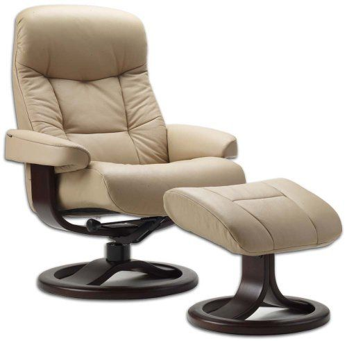 Leather Norwegian Ergonomic Scandinavian Lounge Reclining Chair Fjords 215 Small Muldal Recliner Furniture Nordic Line Genuine Sandel Light Brown Leather Cherry Wood by Fjords. $1095.00. Fjords utilizes cold cure molded foam in the seat, back, armrest and ottoman. Cast molded cold cure foam retains its suppleness longer than standard block molded foam in order to retain its durability and physical appearance.. Genuine Fjords Leather Muldal Recliner and ottoman featu...
