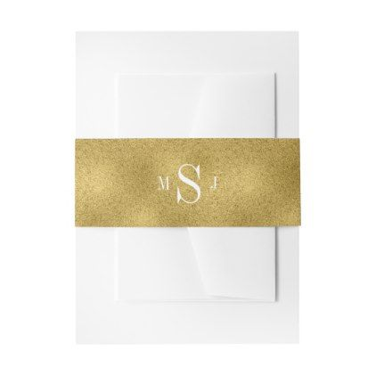 Classic Gold Wedding Invitation Belly Bands Invitation Belly Band - monogram gifts unique design style monogrammed diy cyo customize