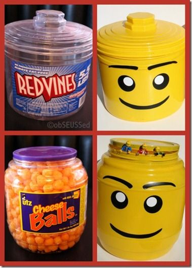 DIY Lego head containers, now I need someone to eat red vines