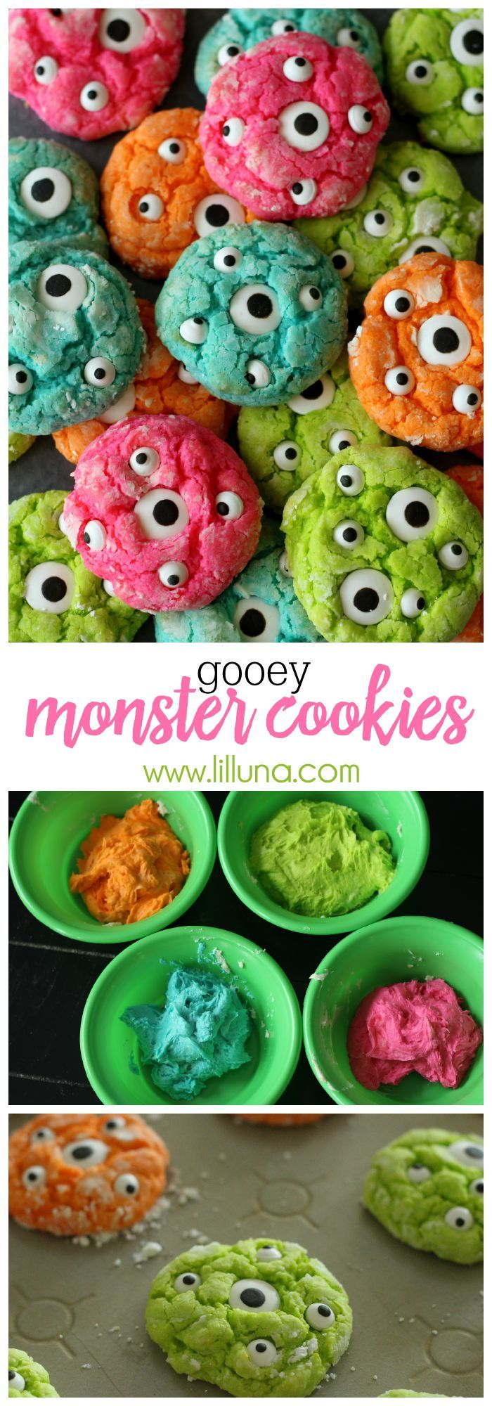 Delicious Gooey Monster Cookies!! Perfect for Halloween or just for fun! The…